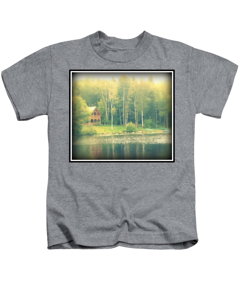 Lake Kids T-Shirt featuring the photograph Cabin By The Lake by Rebecca Malo