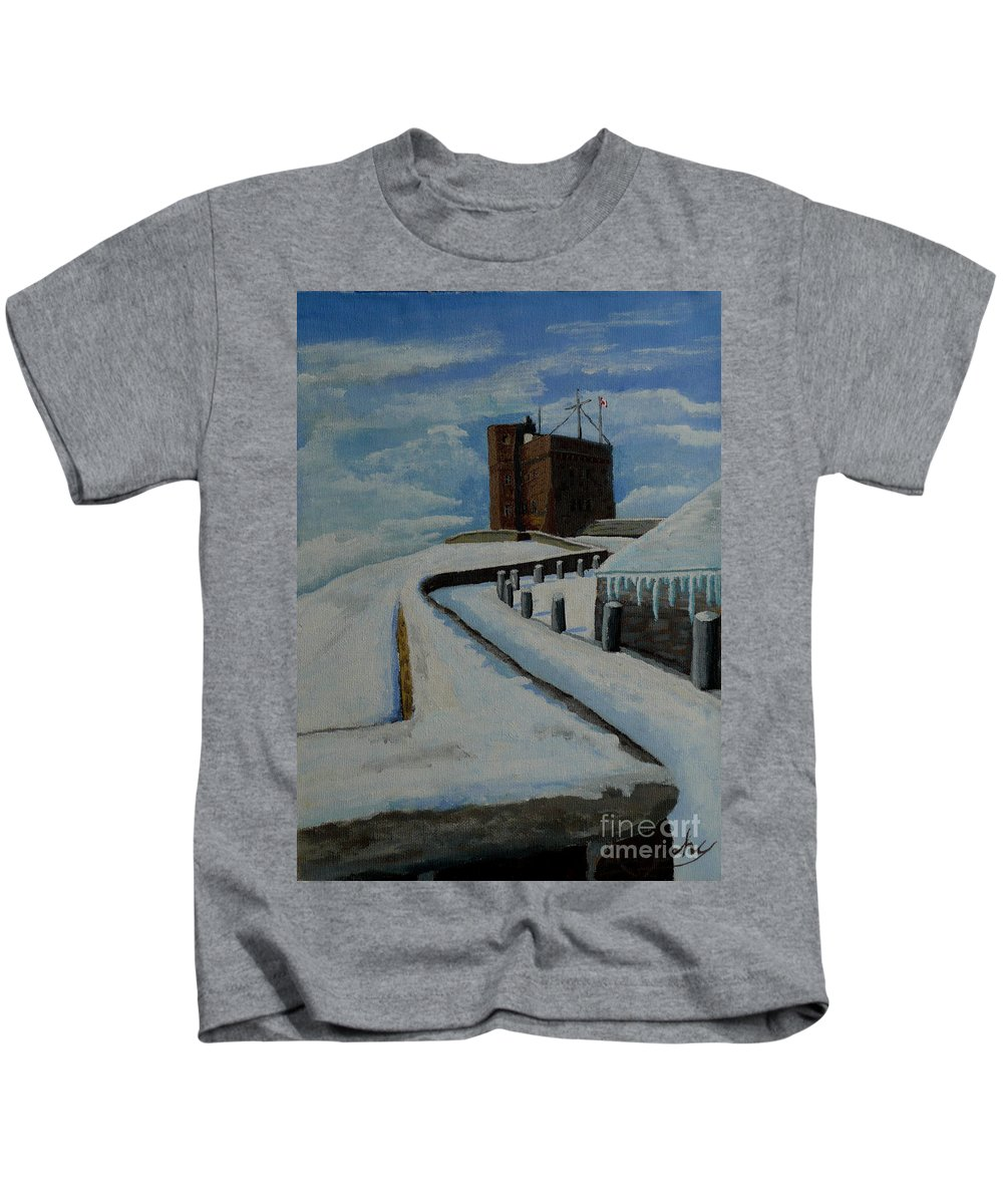 Landscape Kids T-Shirt featuring the painting Cabot Tower Newfoundland by Anthony Dunphy