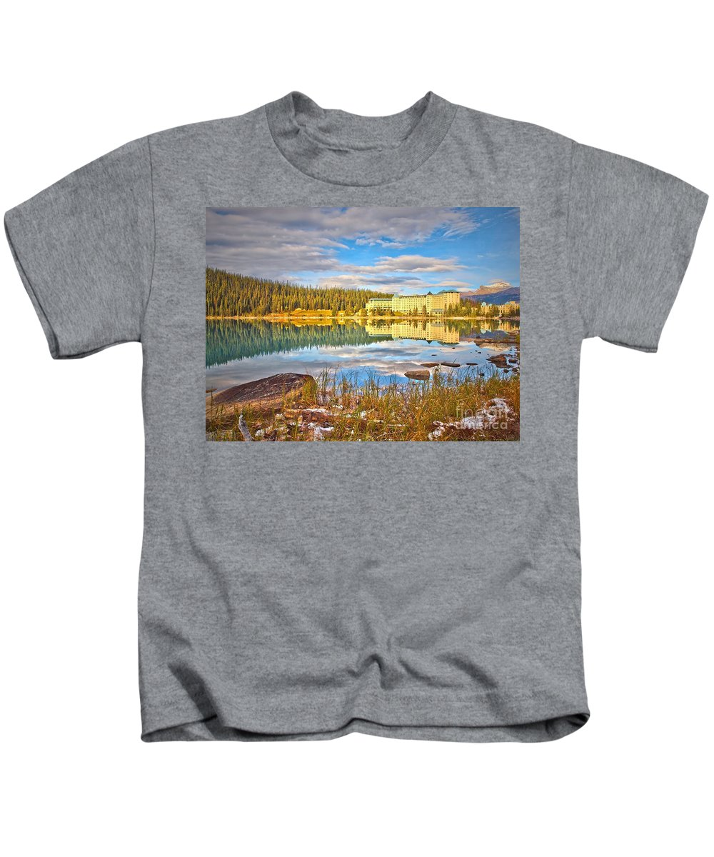 Lake Louise Kids T-Shirt featuring the photograph Calm Waters by Tara Turner
