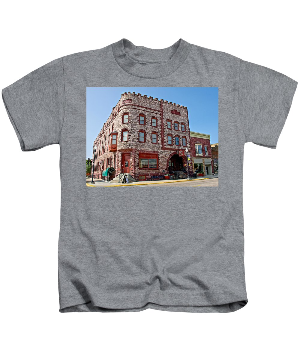 Calumet Hotel-1887 In Pipestone Kids T-Shirt featuring the photograph Calumet Hotel-1887 In Pipestone-minnesota by Ruth Hager
