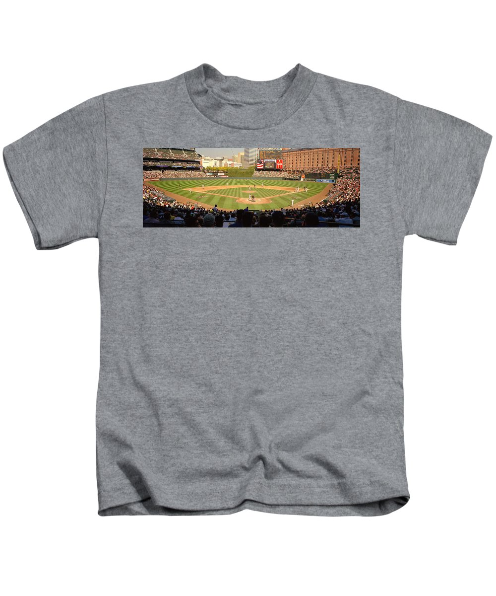 Photography Kids T-Shirt featuring the photograph Camden Yards Baseball Game Baltimore by Panoramic Images