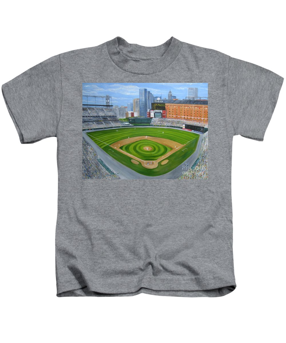 Camden Yards Kids T-Shirt featuring the painting Camden Yards by Laura Corebello