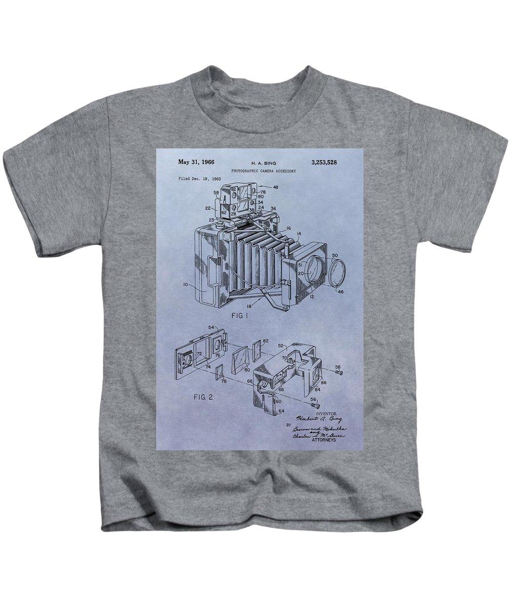 1966 Camera Patent Kids T-Shirt featuring the digital art Camera Patent by Dan Sproul