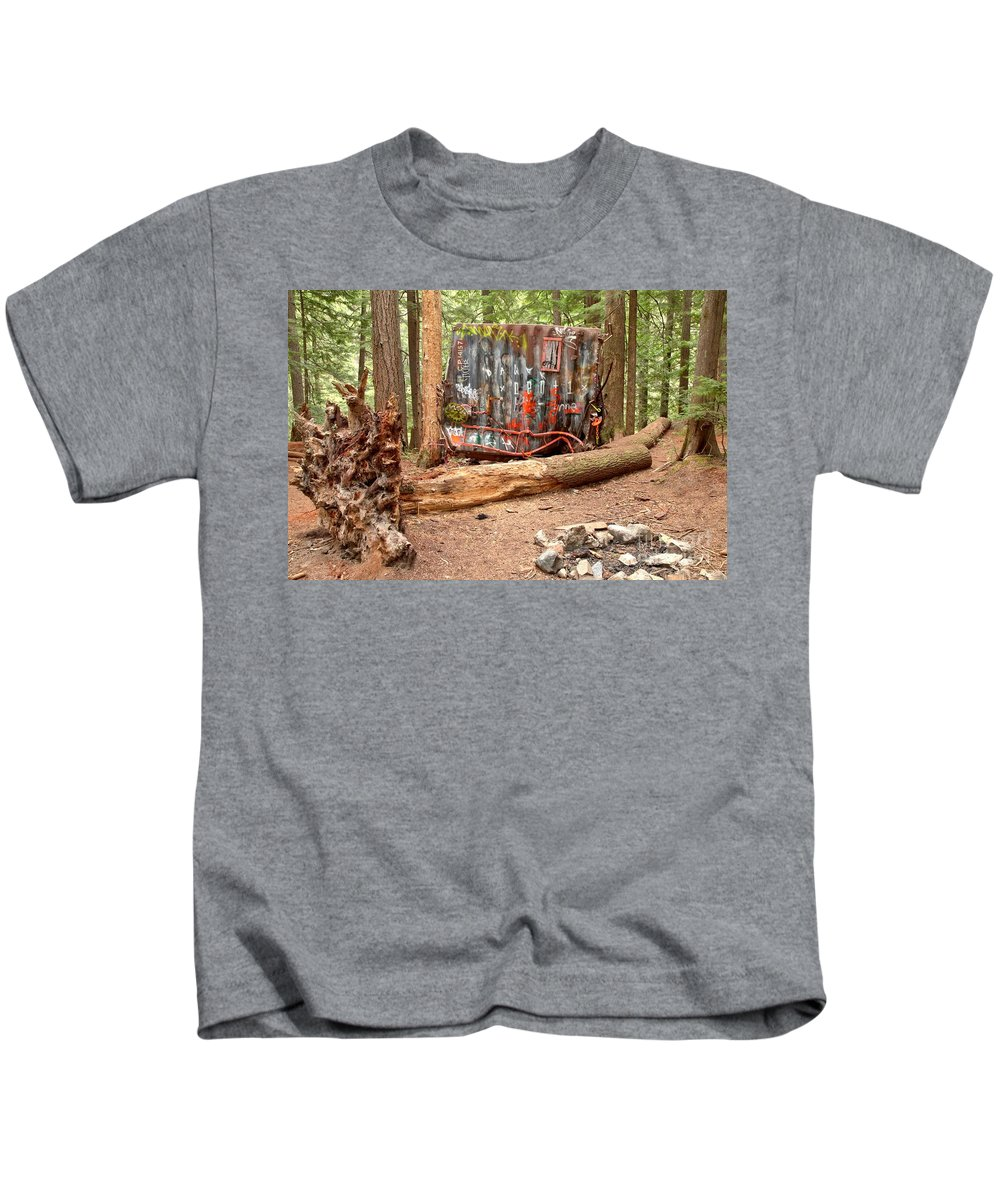 Canada Pacific Kids T-Shirt featuring the photograph Campsite Near A Train Wreck by Adam Jewell