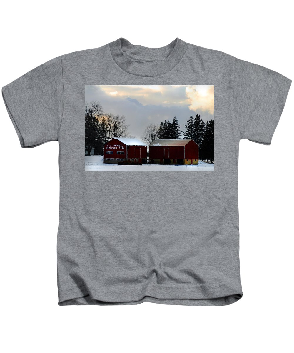 Canada Kids T-Shirt featuring the photograph Canadian Snowy Farm by Anthony Jones