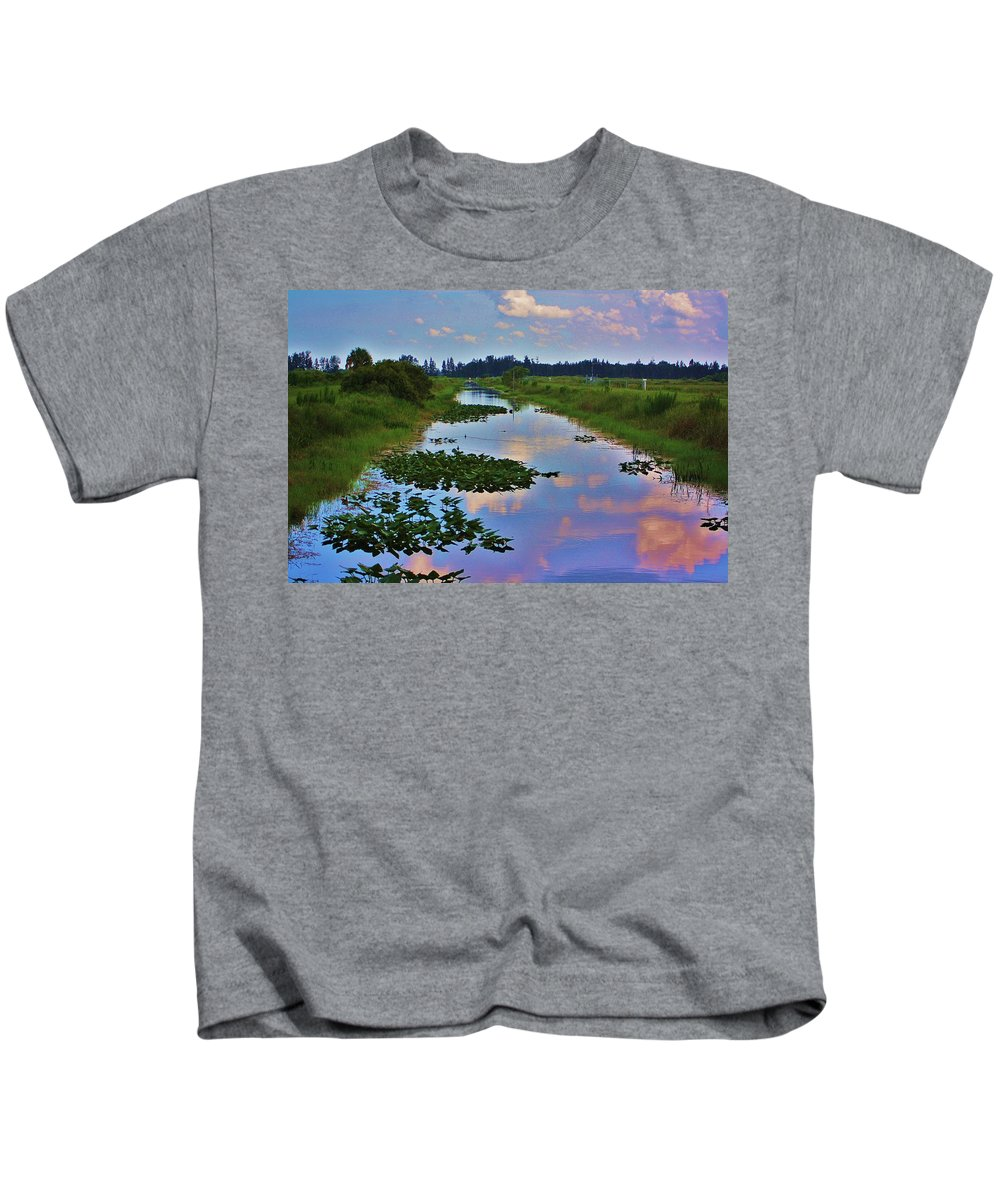 Canal Kids T-Shirt featuring the photograph Canal In The Glades by Chuck Hicks