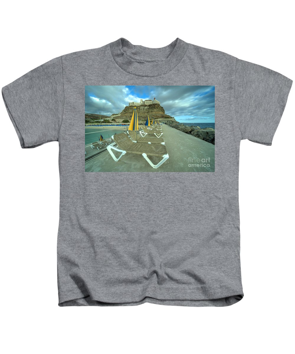 Playa Kids T-Shirt featuring the photograph Canarian Loungers by Rob Hawkins