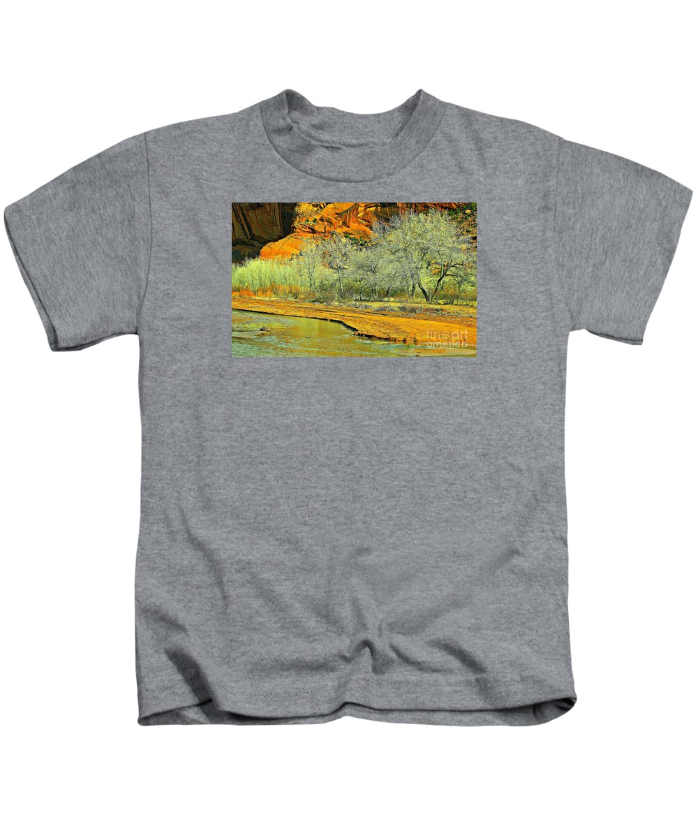 Canyons Kids T-Shirt featuring the photograph Canyon De Chelly - Spring I by Barbara Zahno
