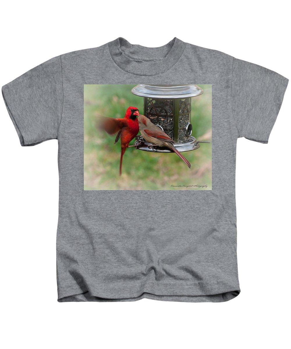Cardinal Kids T-Shirt featuring the photograph Cardinal Kiss by Photos By Cassandra