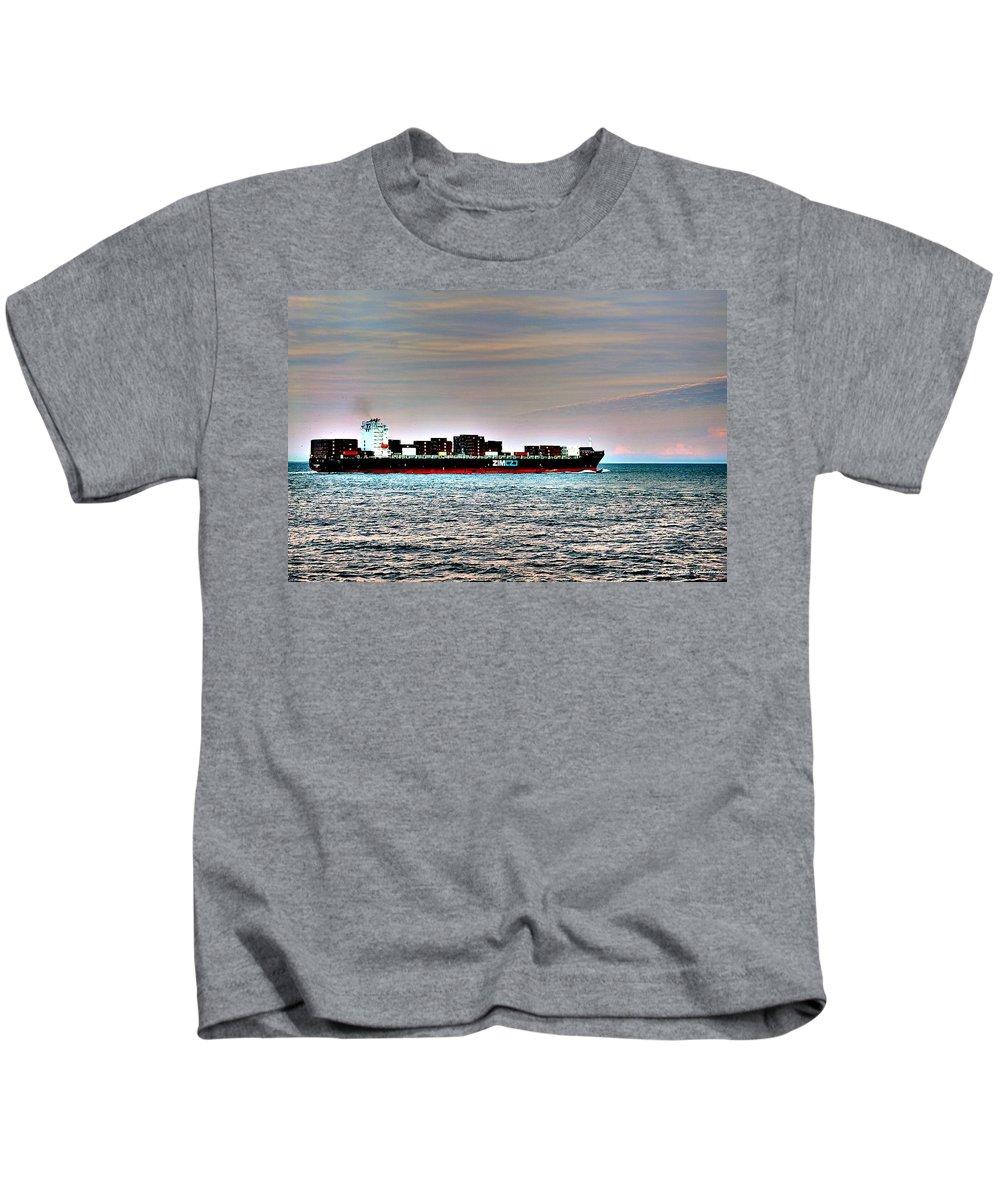 Ship Kids T-Shirt featuring the photograph Cargo Ship Near Chesapeake Bay Bridge Tunnel by Srinivasan Venkatarajan