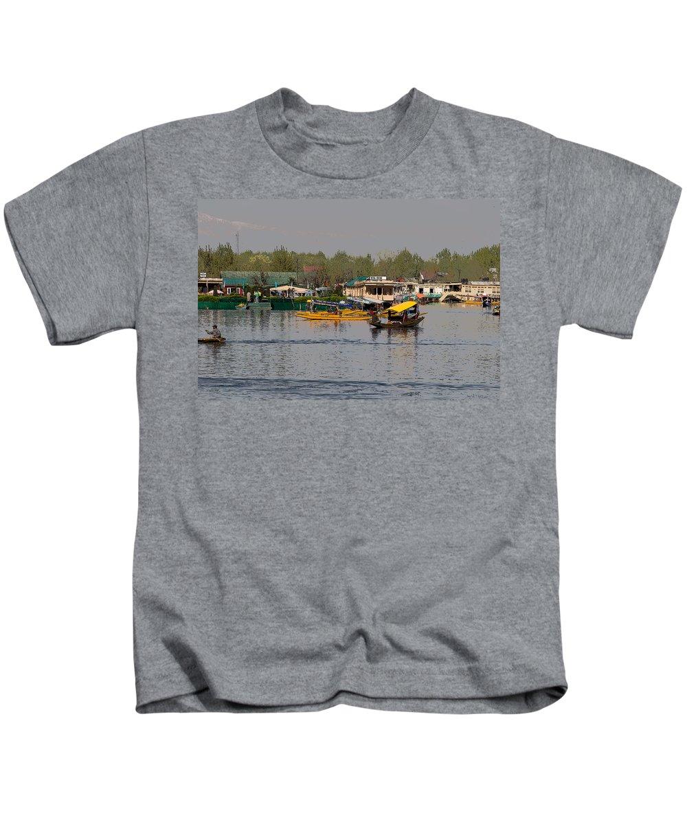 Beautiful Scene Kids T-Shirt featuring the digital art Cartoon - Shikaras And Houseboats Along With A Garden In The Dal Lake In Srinagar by Ashish Agarwal
