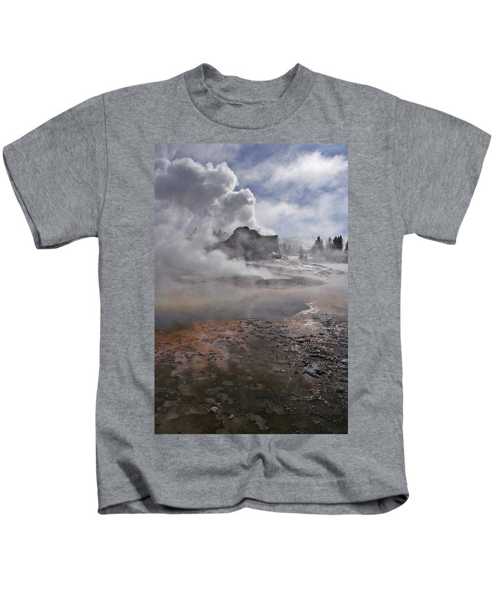 Castle Geyser In Winter Kids T-Shirt featuring the photograph Castle Geyser In Winter by Wes and Dotty Weber