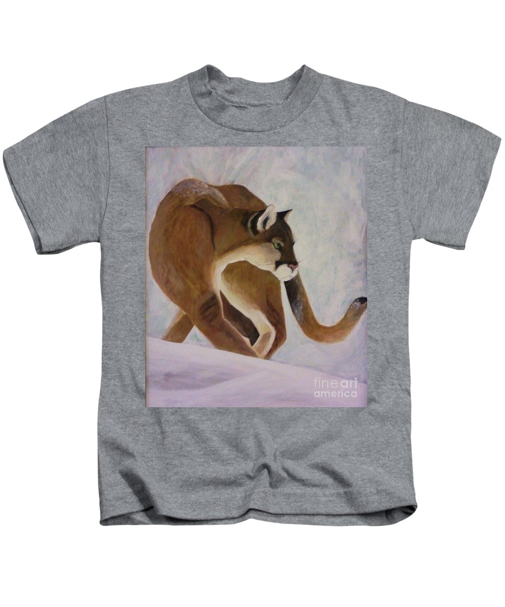 Puma Kids T-Shirt featuring the painting Cat In Snow by Christy Saunders Church