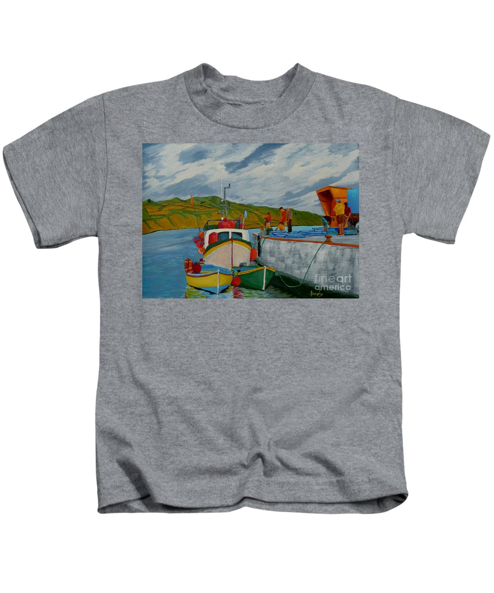Boats Kids T-Shirt featuring the painting Catch Of The Day by Anthony Dunphy