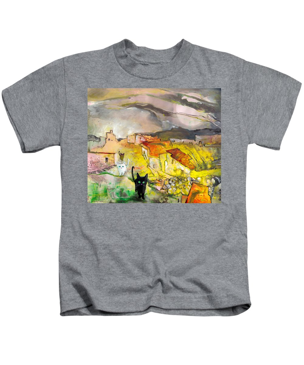 Animals Kids T-Shirt featuring the painting Catwalk by Miki De Goodaboom