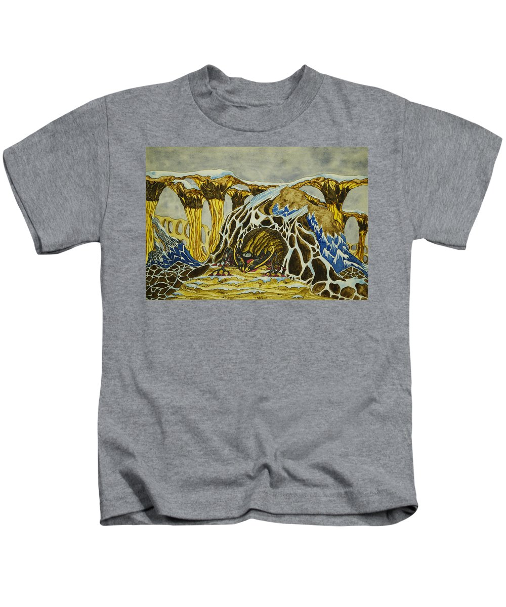 Creature Kids T-Shirt featuring the painting Cave Creature by Daniel P Cronin