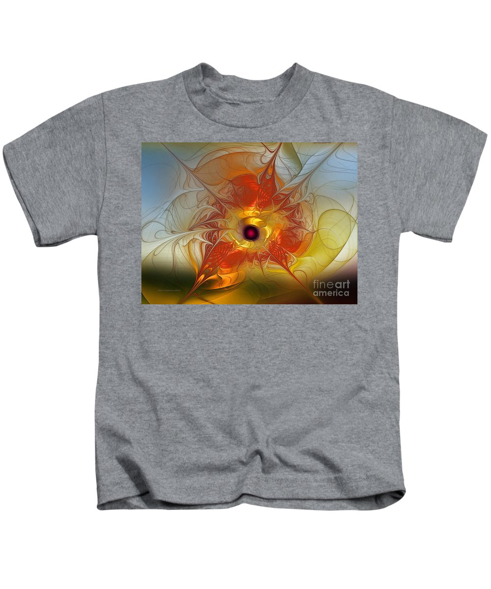 Abstract Kids T-Shirt featuring the digital art Celebration For A Rising Star-abstract Fractal Art by Karin Kuhlmann
