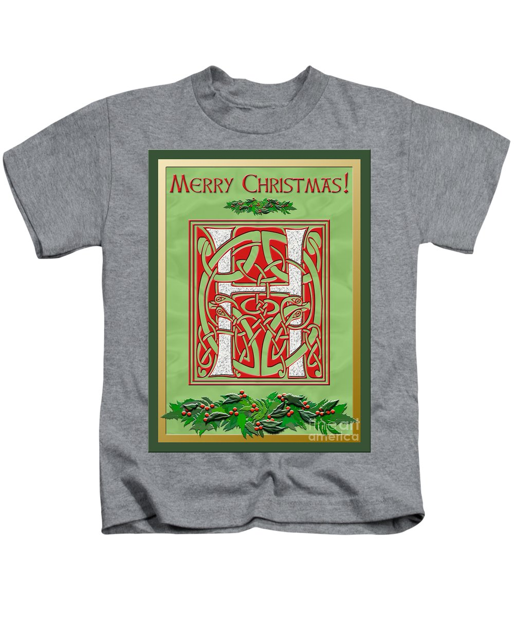 Monogram Kids T-Shirt featuring the digital art Celtic Christmas H Initial by Melissa A Benson