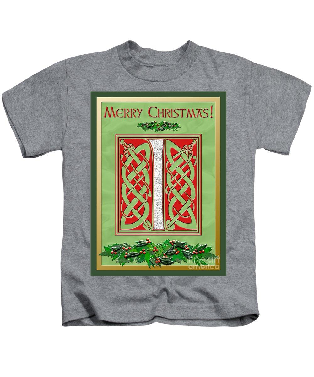 Monogram Kids T-Shirt featuring the digital art Celtic Christmas I Initial by Melissa A Benson