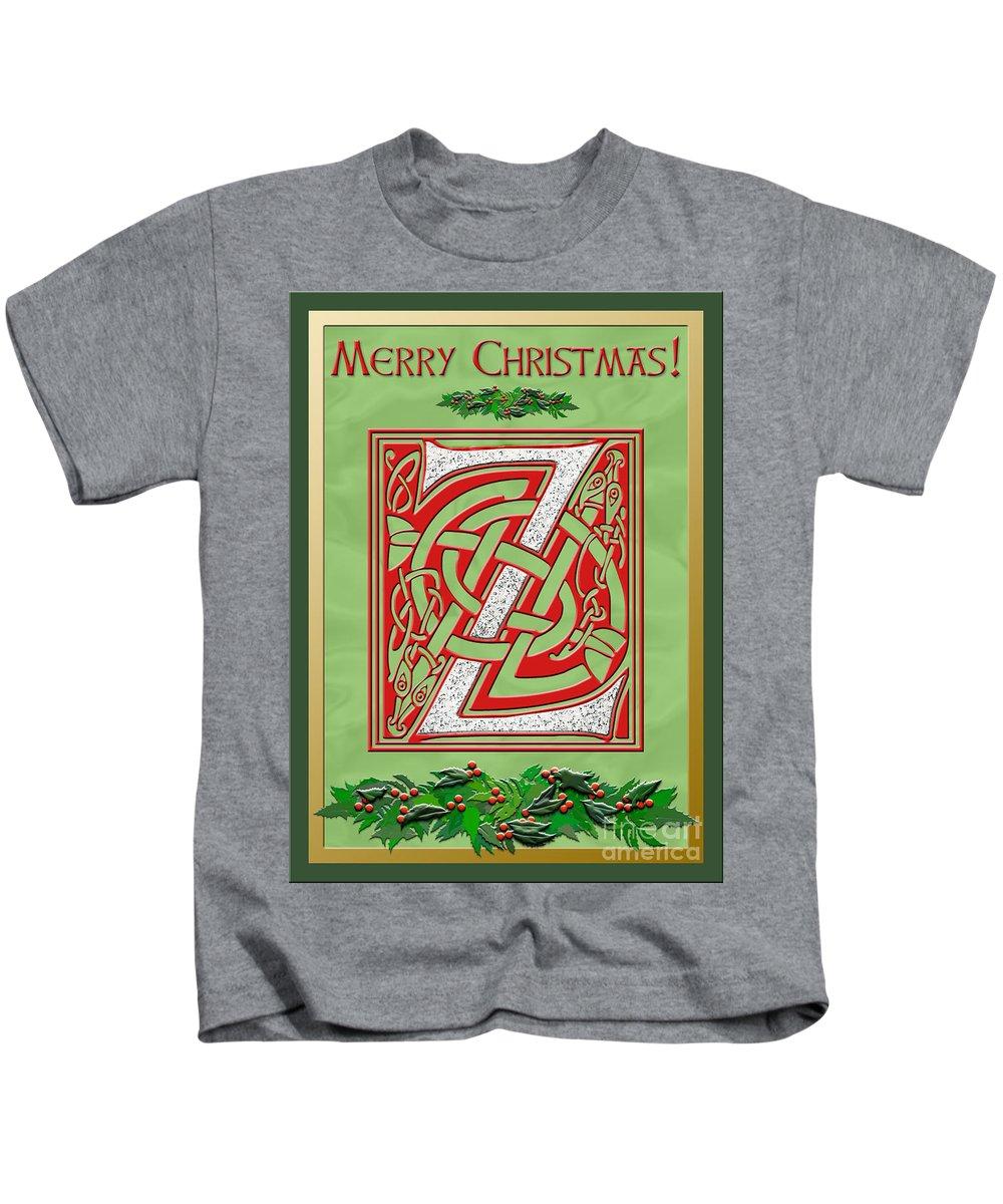 Christmas Kids T-Shirt featuring the digital art Celtic Christmas Initial Z by Melissa A Benson