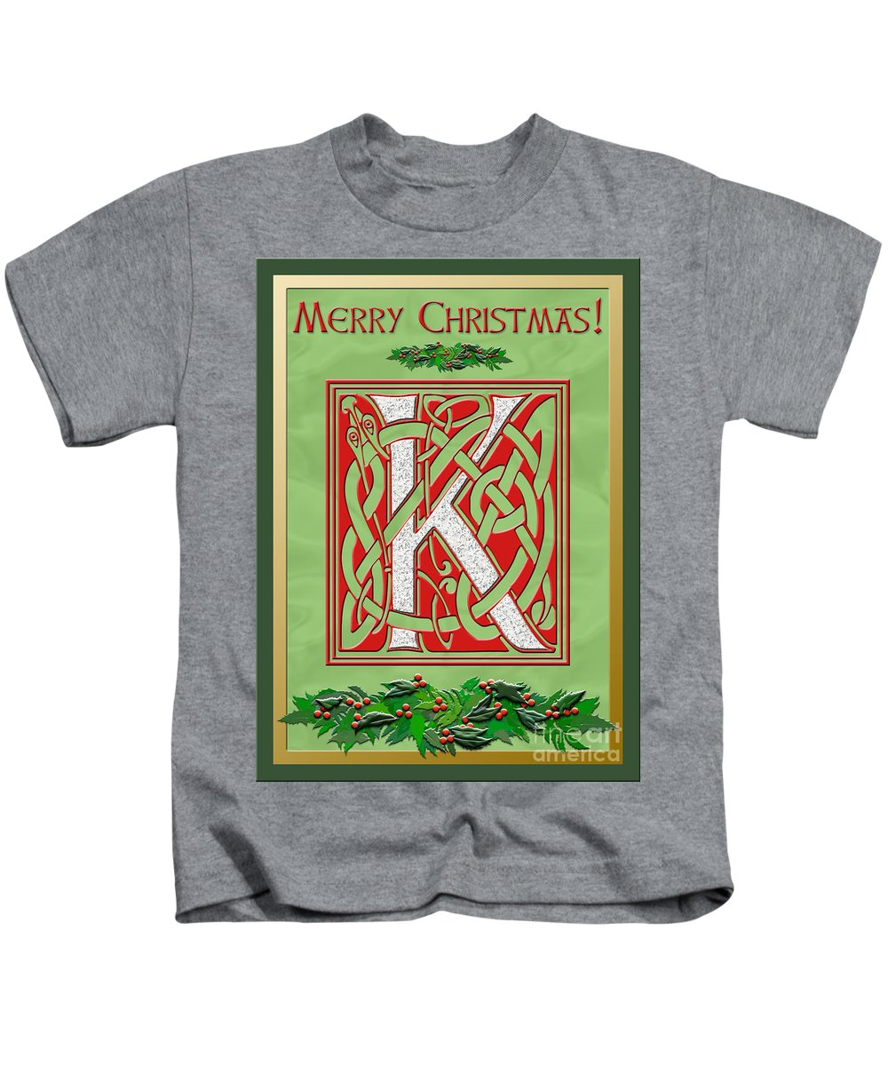 Monogram Kids T-Shirt featuring the digital art Celtic Christmas K Initial by Melissa A Benson