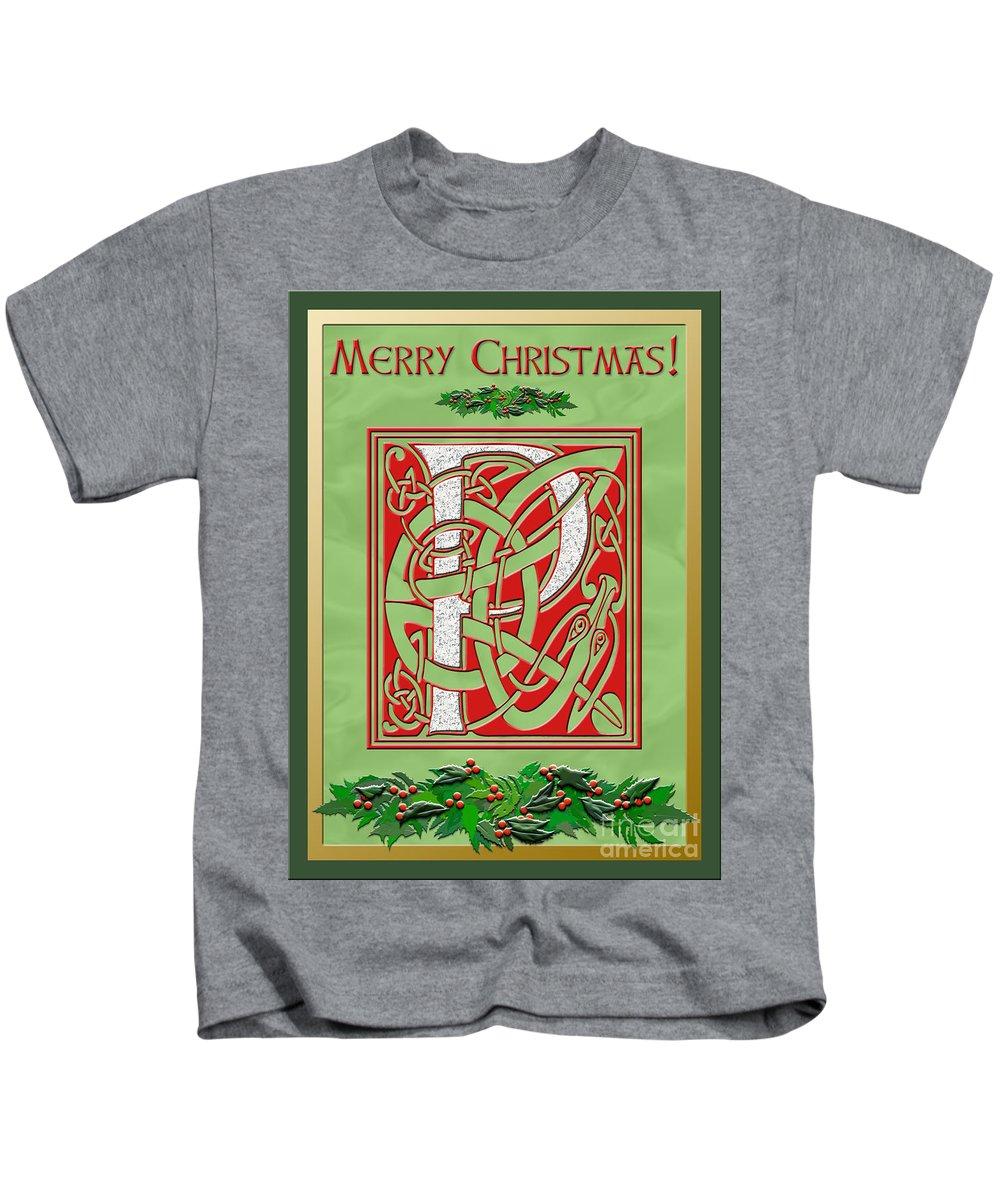 Monogram Kids T-Shirt featuring the digital art Celtic Christmas P Initial by Melissa A Benson