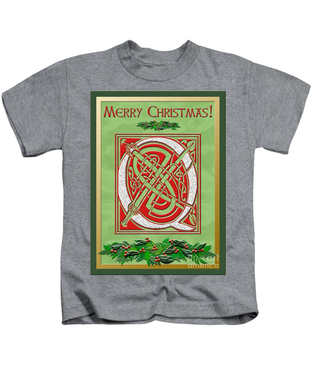 Monogram Kids T-Shirt featuring the digital art Celtic Christmas Q Initial by Melissa A Benson