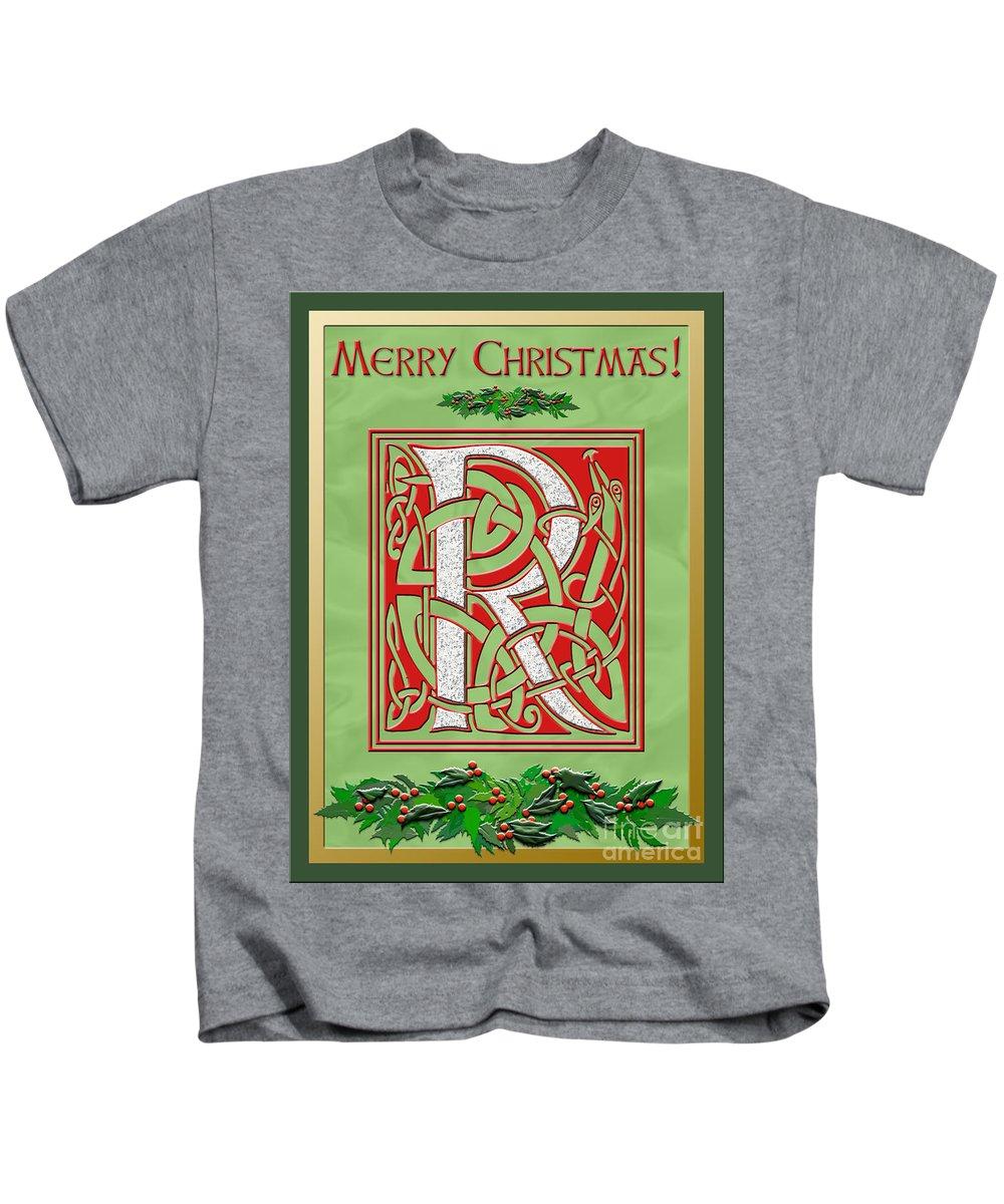 Monogram Kids T-Shirt featuring the digital art Celtic Christmas R Initial by Melissa A Benson