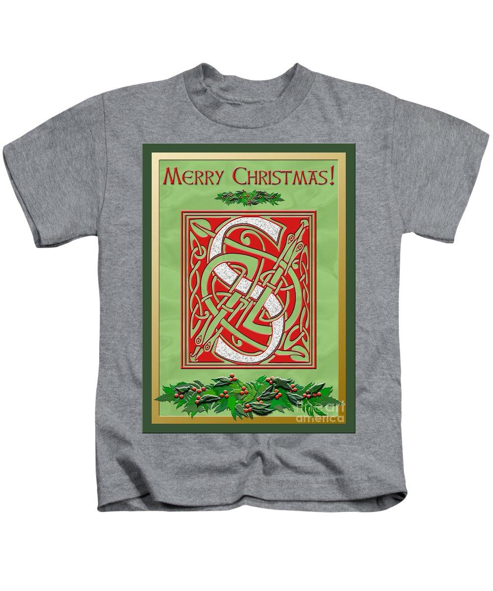 Monogram Kids T-Shirt featuring the digital art Celtic Christmas S Initial by Melissa A Benson