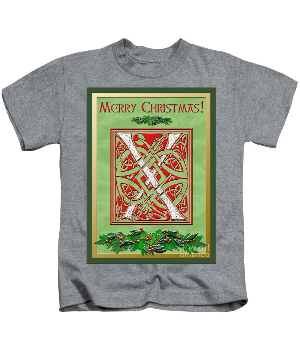 Monogram Kids T-Shirt featuring the digital art Celtic Christmas X Initial by Melissa A Benson