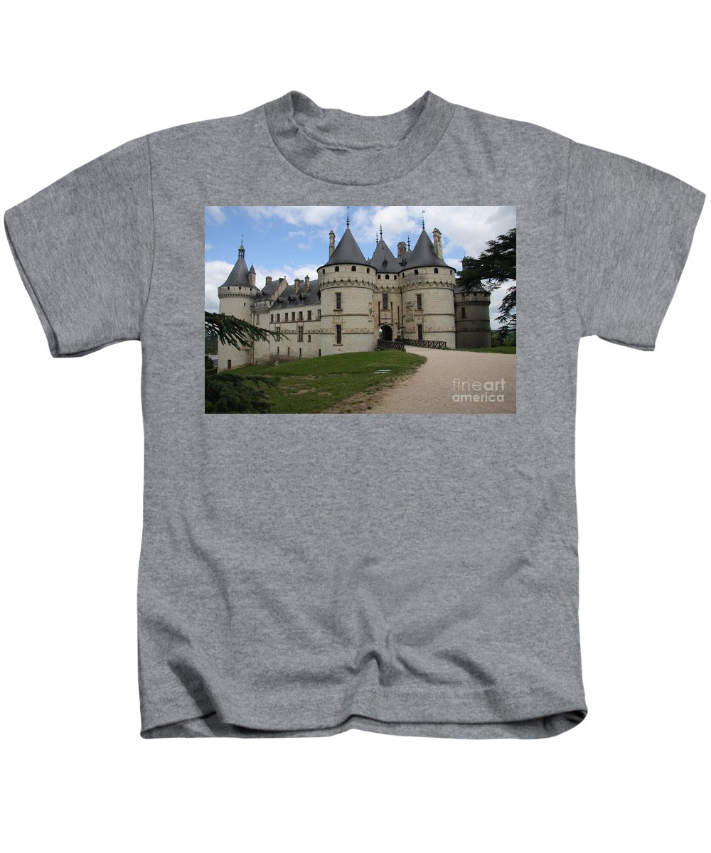 Palace Kids T-Shirt featuring the photograph Chateau Chaumont Steeples by Christiane Schulze Art And Photography