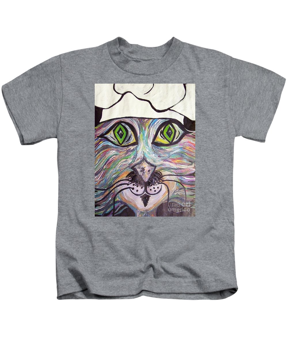 Professional Kids T-Shirt featuring the painting Chef Pierre ... A Cat With Good Taste by Eloise Schneider Mote