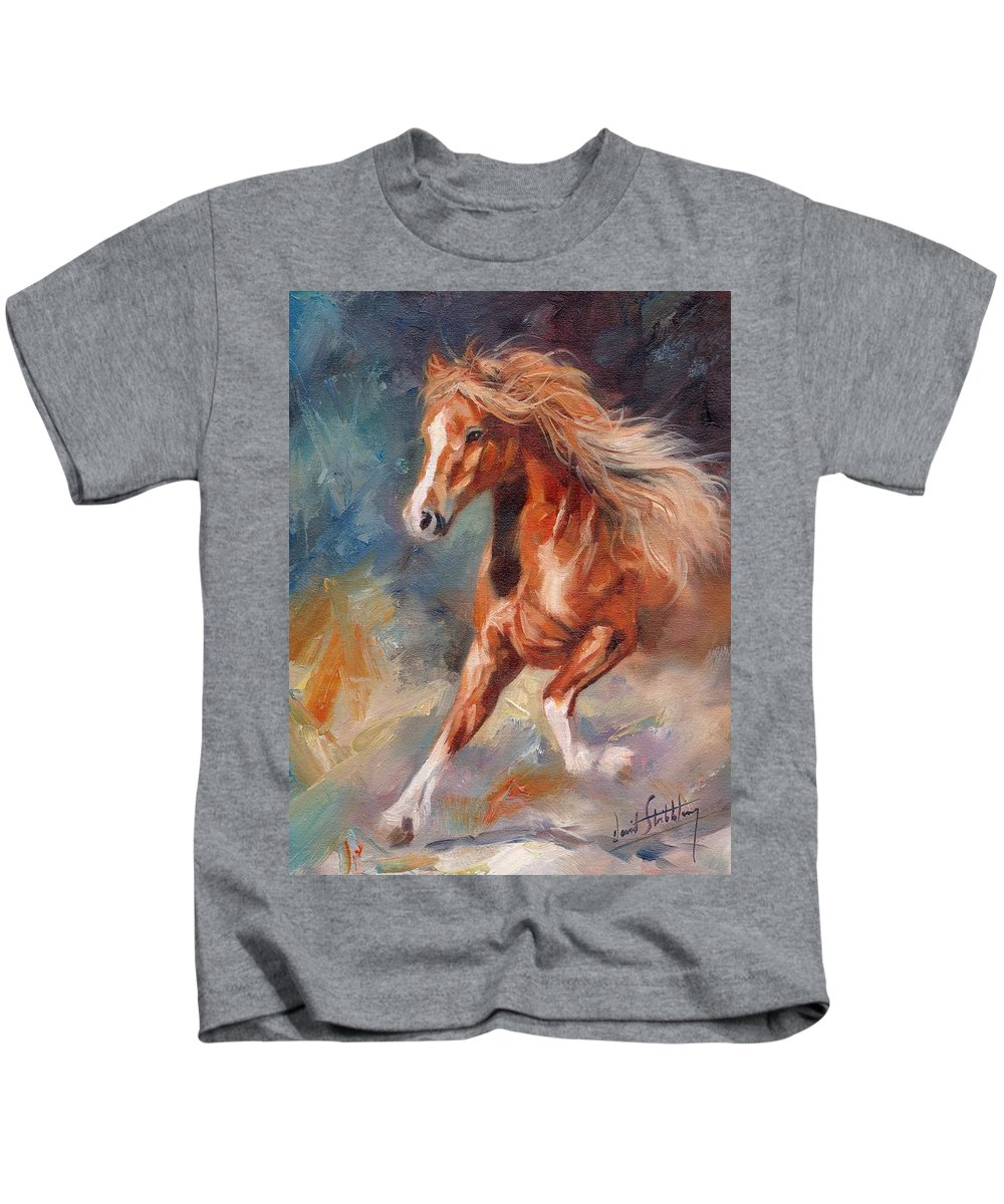Horse Kids T-Shirt featuring the painting Chestnut Beauty by David Stribbling
