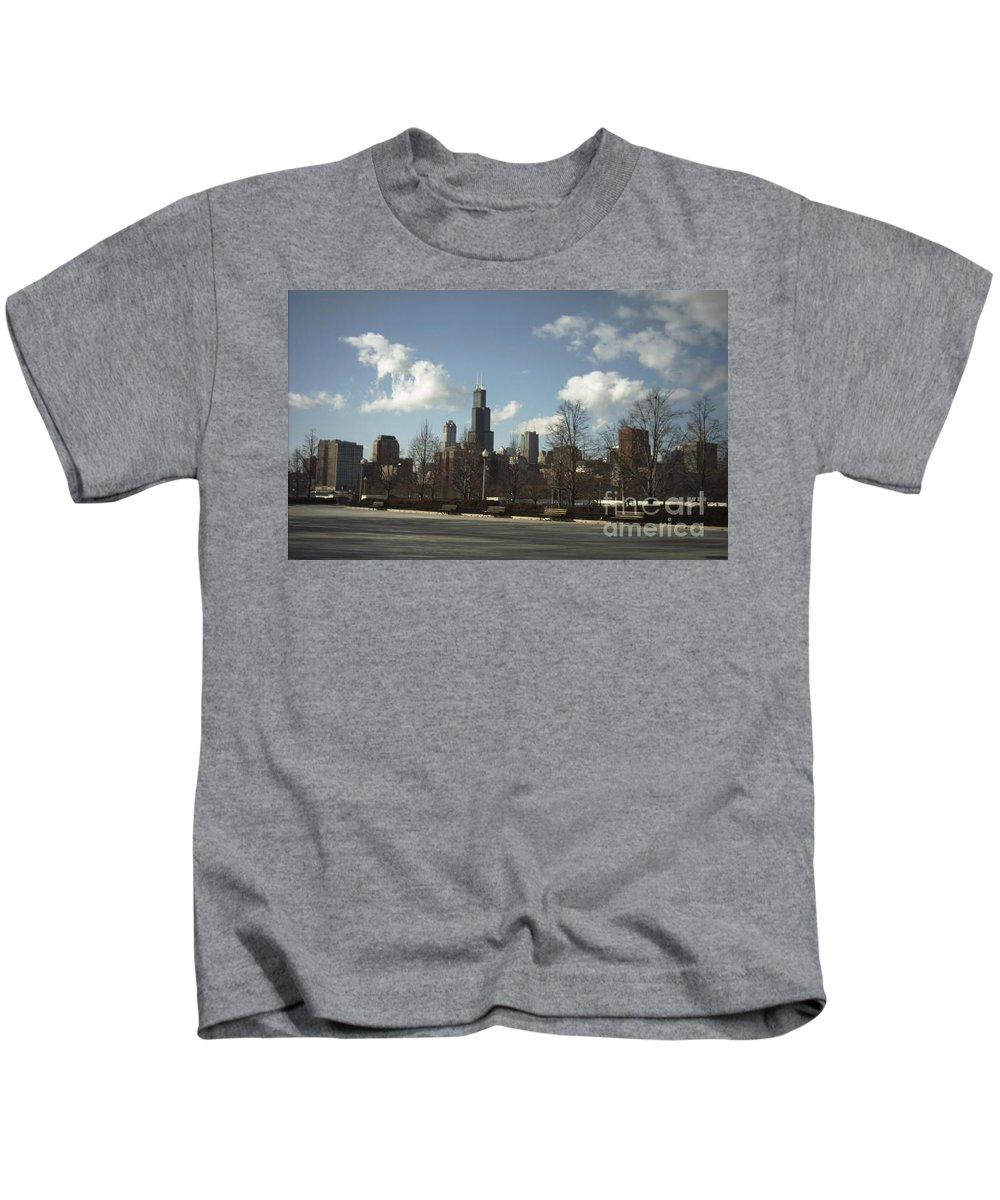 Chicago Skyline Kids T-Shirt featuring the photograph Chicago Skyline Postcard by Minding My Visions by Adri and Ray