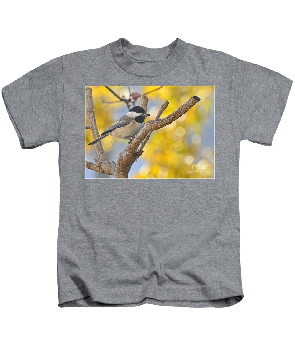 Animals Kids T-Shirt featuring the photograph Chickadee With His Prize by Debbie Portwood