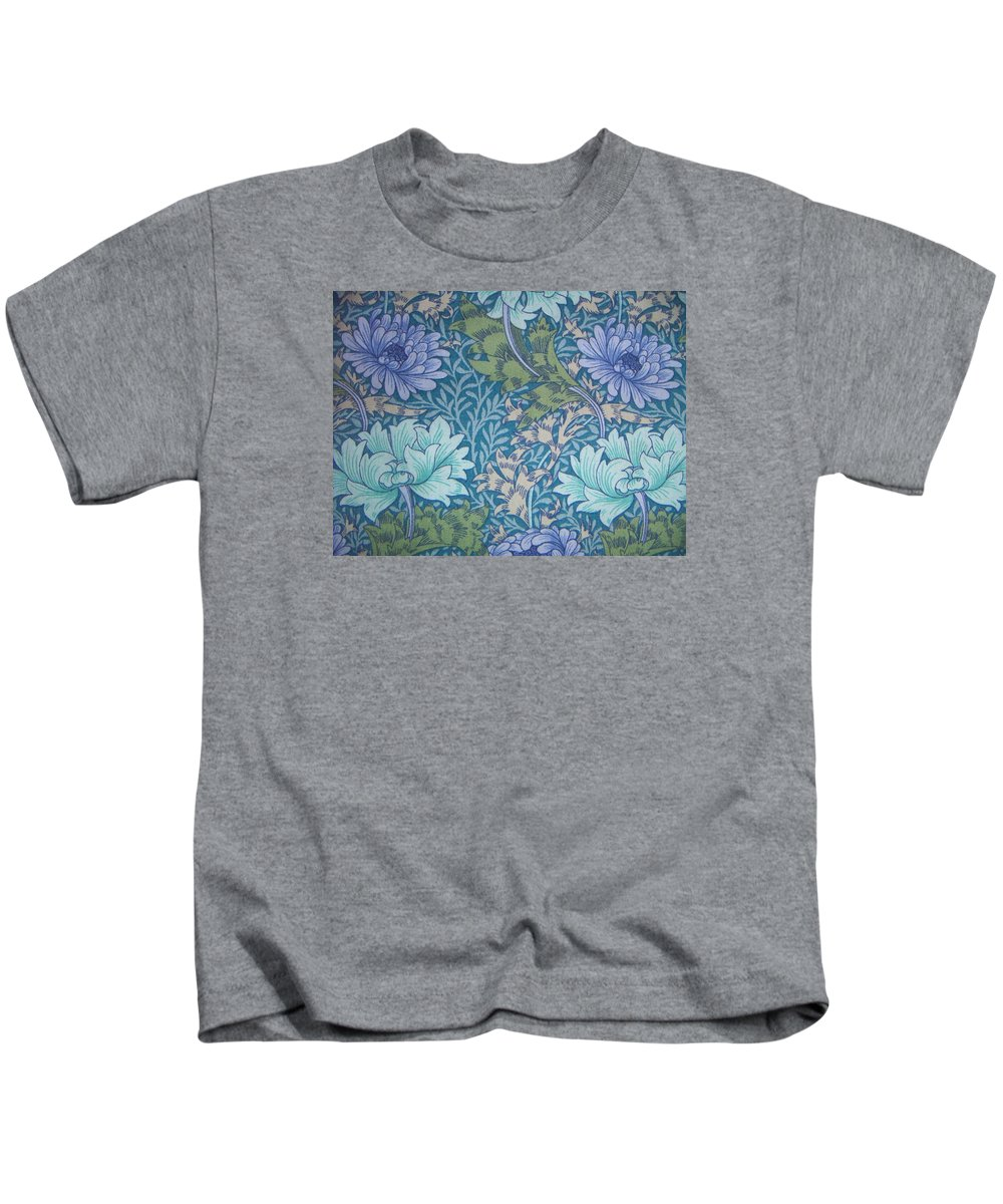 William Kids T-Shirt featuring the tapestry - textile Chrysanthemums In Blue by William Morris