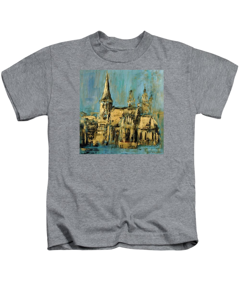Church Kids T-Shirt featuring the painting Church by Arturas Slapsys