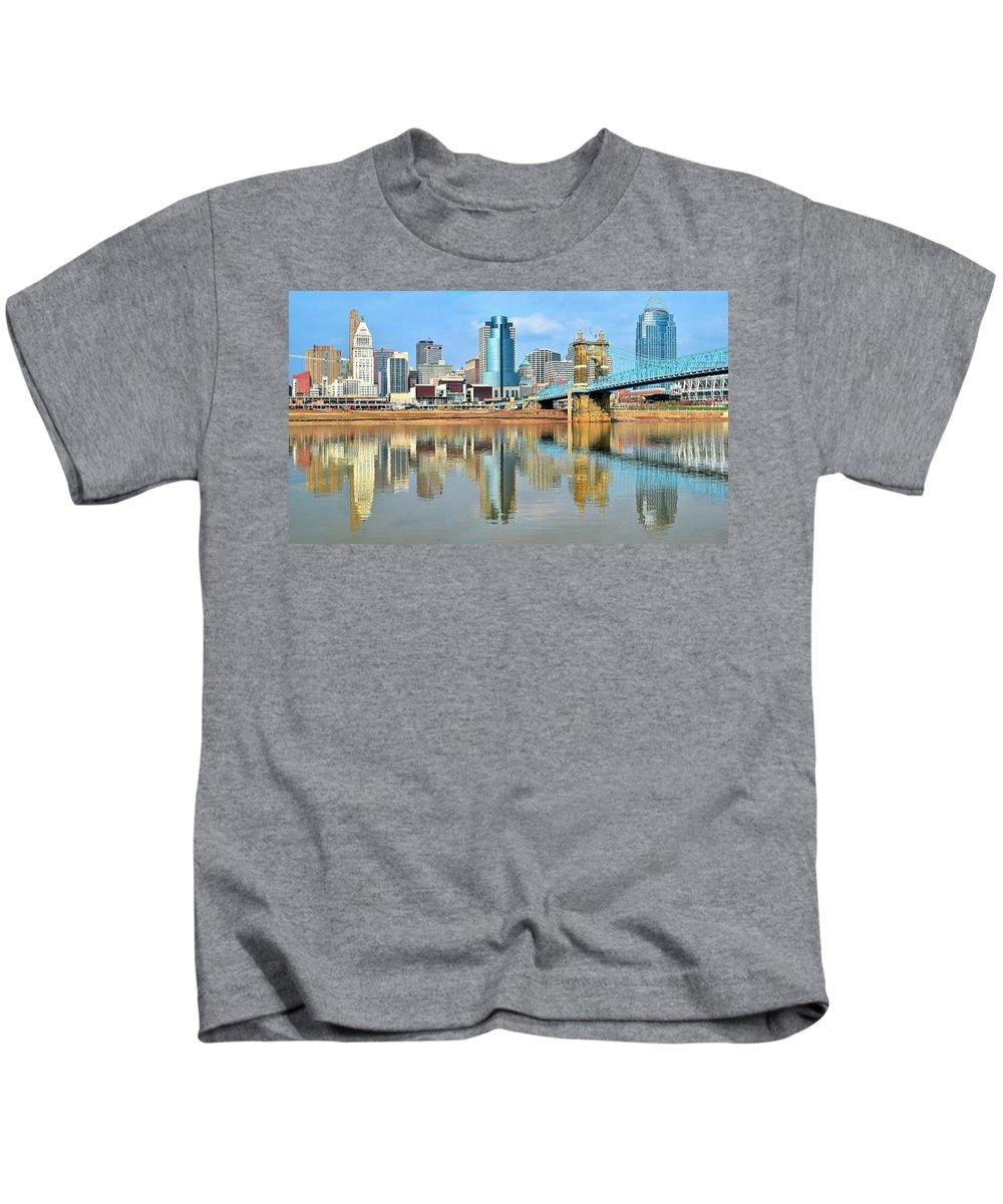 Cincinnati Kids T-Shirt featuring the photograph Cincinnati Skyline Reflects by Frozen in Time Fine Art Photography