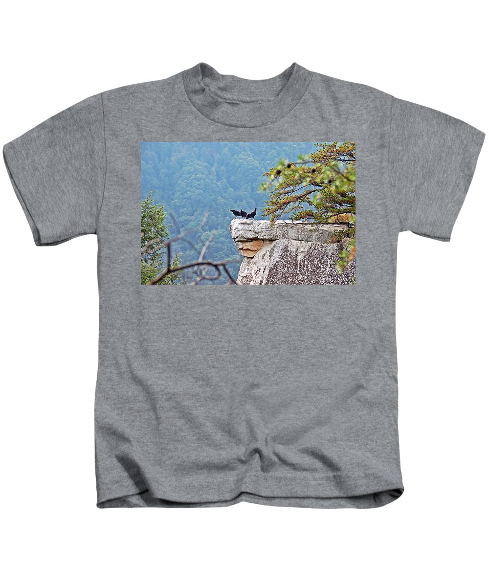 Bird Kids T-Shirt featuring the photograph Cliff Hanging by Aimee L Maher ALM GALLERY