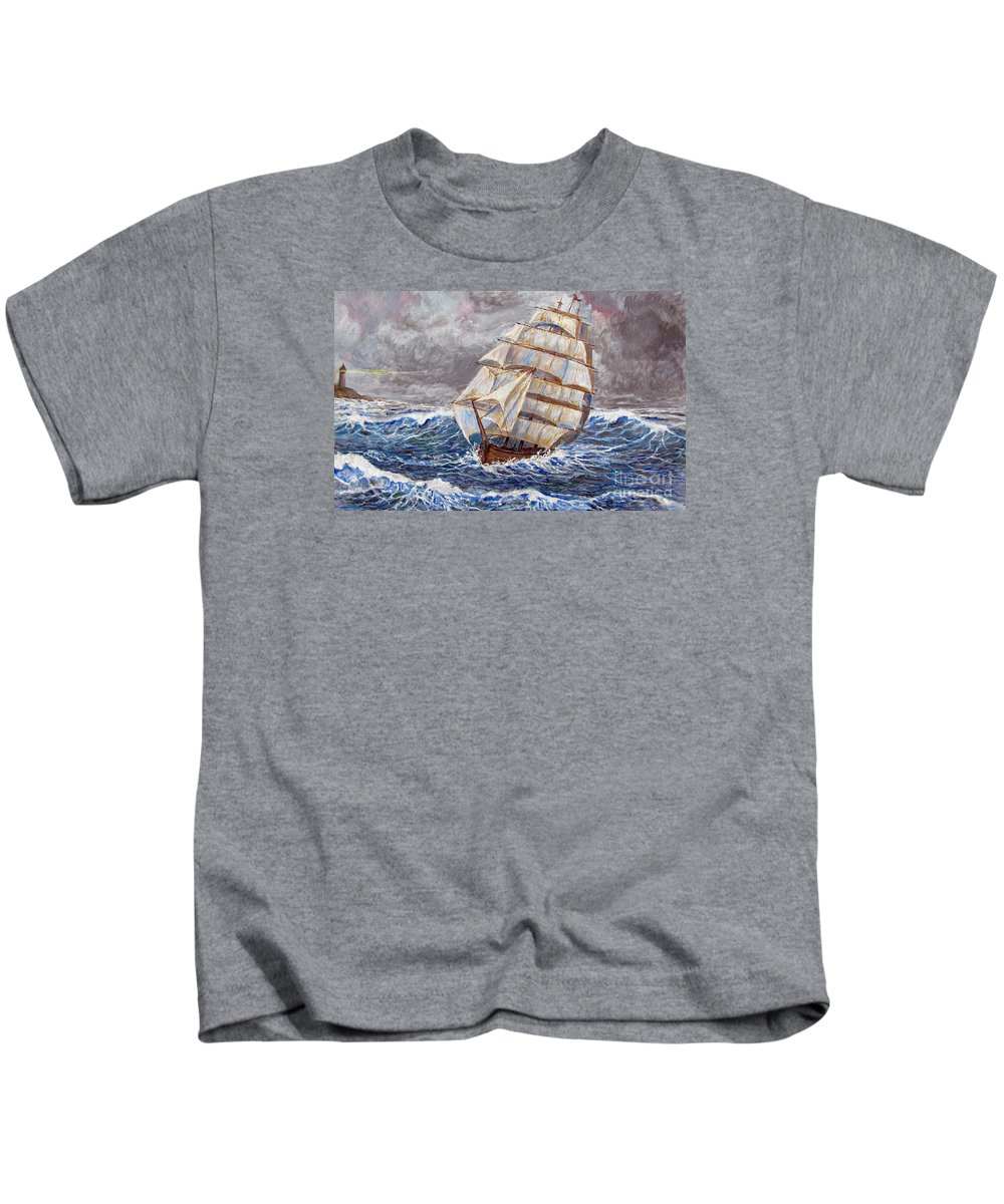 Sea Kids T-Shirt featuring the painting Clipper Ship by Philip Lee