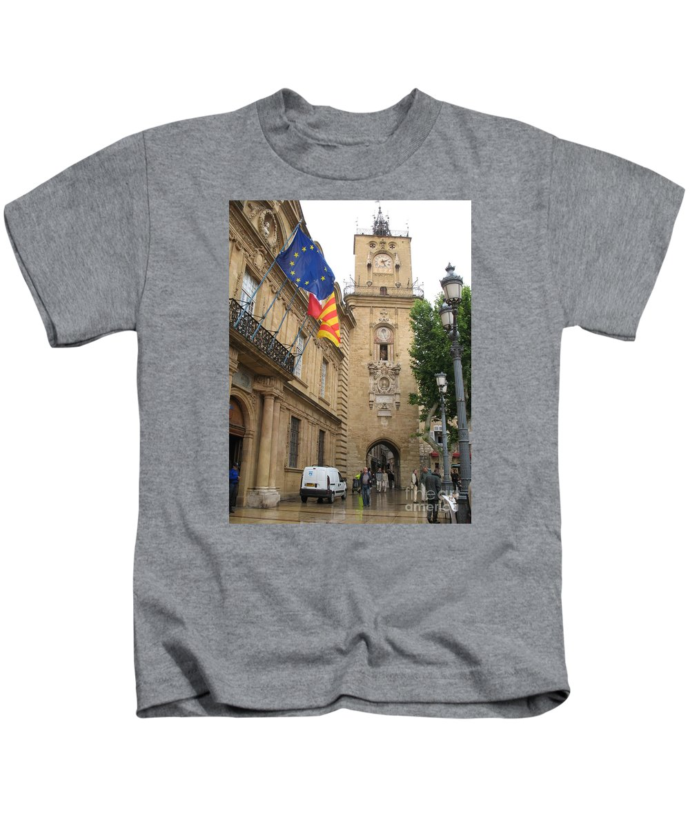 Clock Kids T-Shirt featuring the photograph Clock Tower Aix En Provence by Christiane Schulze Art And Photography
