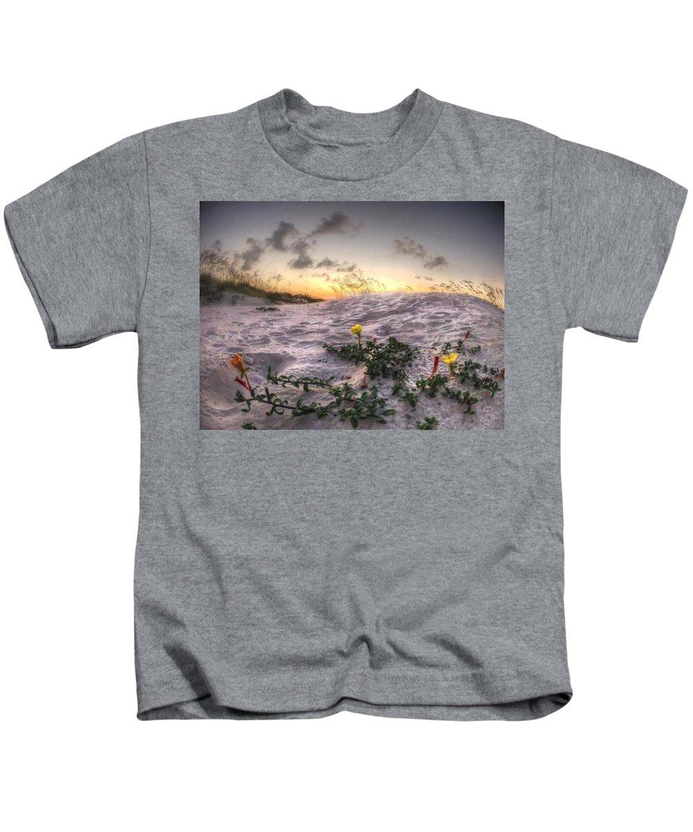 Palm Kids T-Shirt featuring the digital art Closeup Flowers On The Beach by Michael Thomas