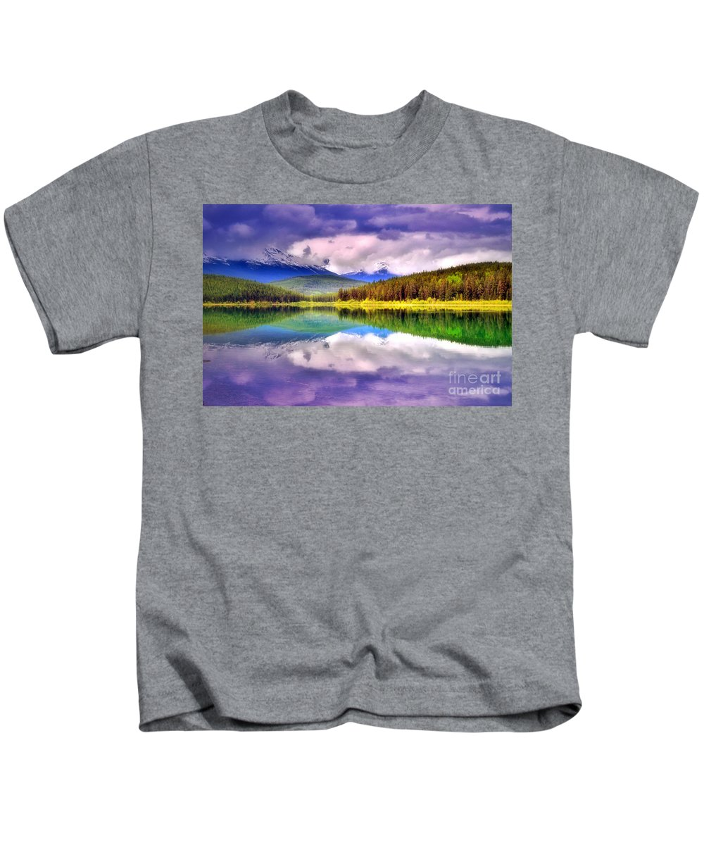 Lake Patricia Kids T-Shirt featuring the photograph Cloud Cover On Lake Patricia by Tara Turner