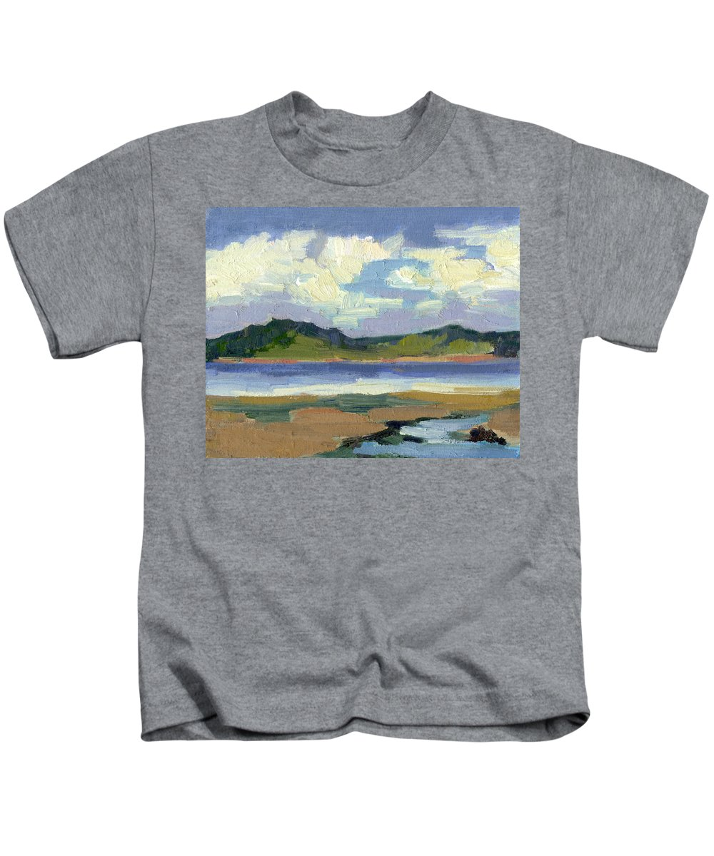 Clouds Kids T-Shirt featuring the painting Clouds At Vashon Island by Diane McClary