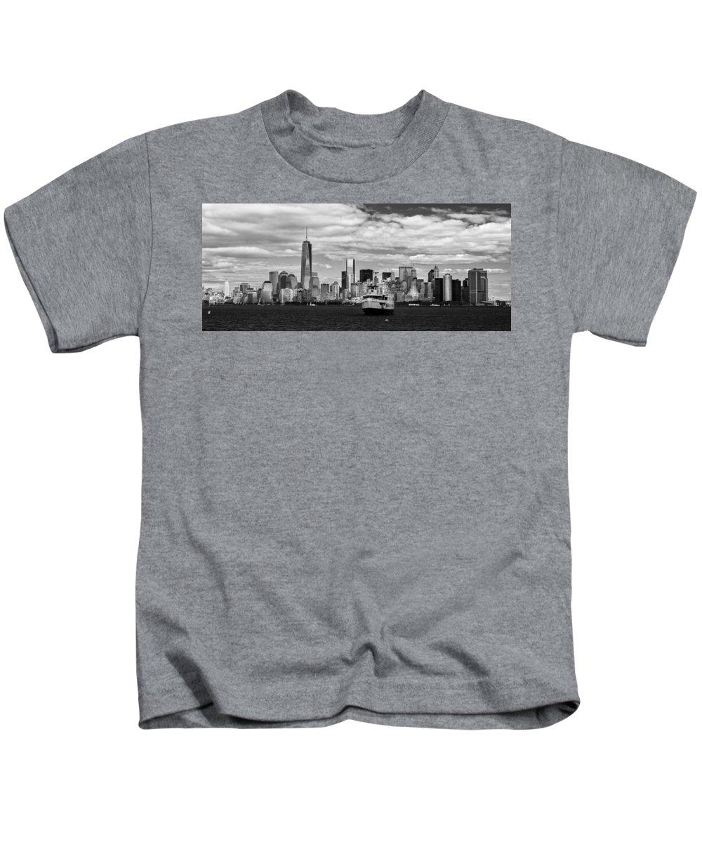 New York Skyline Kids T-Shirt featuring the photograph Clouds Over New York by Jatinkumar Thakkar