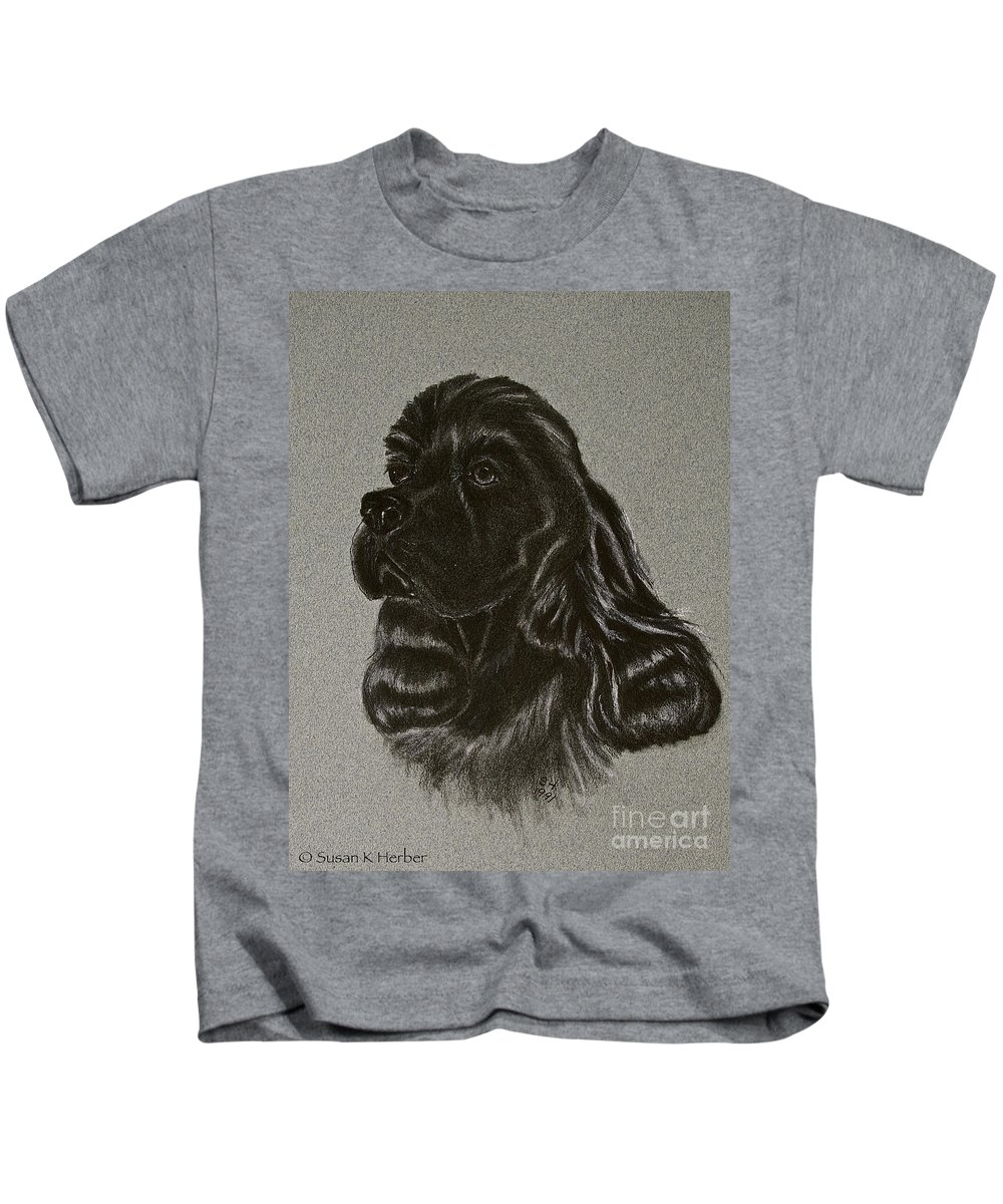 Black Cocker Kids T-Shirt featuring the drawing Cocker Spaniel by Susan Herber