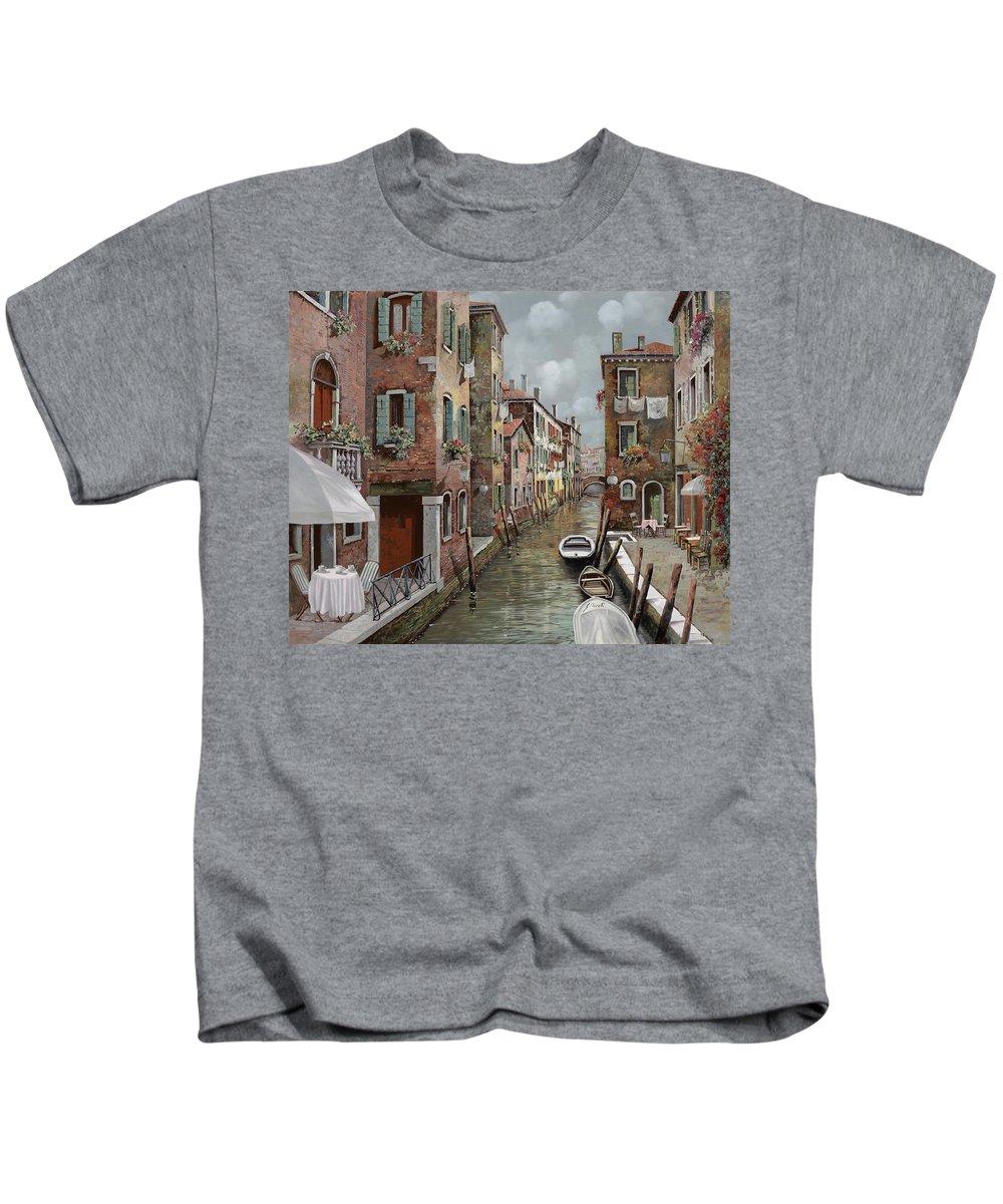 Venice Kids T-Shirt featuring the painting colazione a Venezia by Guido Borelli