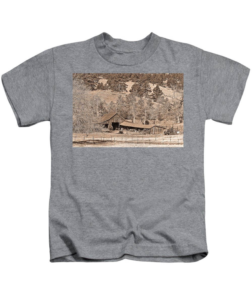 Barn Kids T-Shirt featuring the photograph Colorado Rocky Mountain Barn Sepia by James BO Insogna