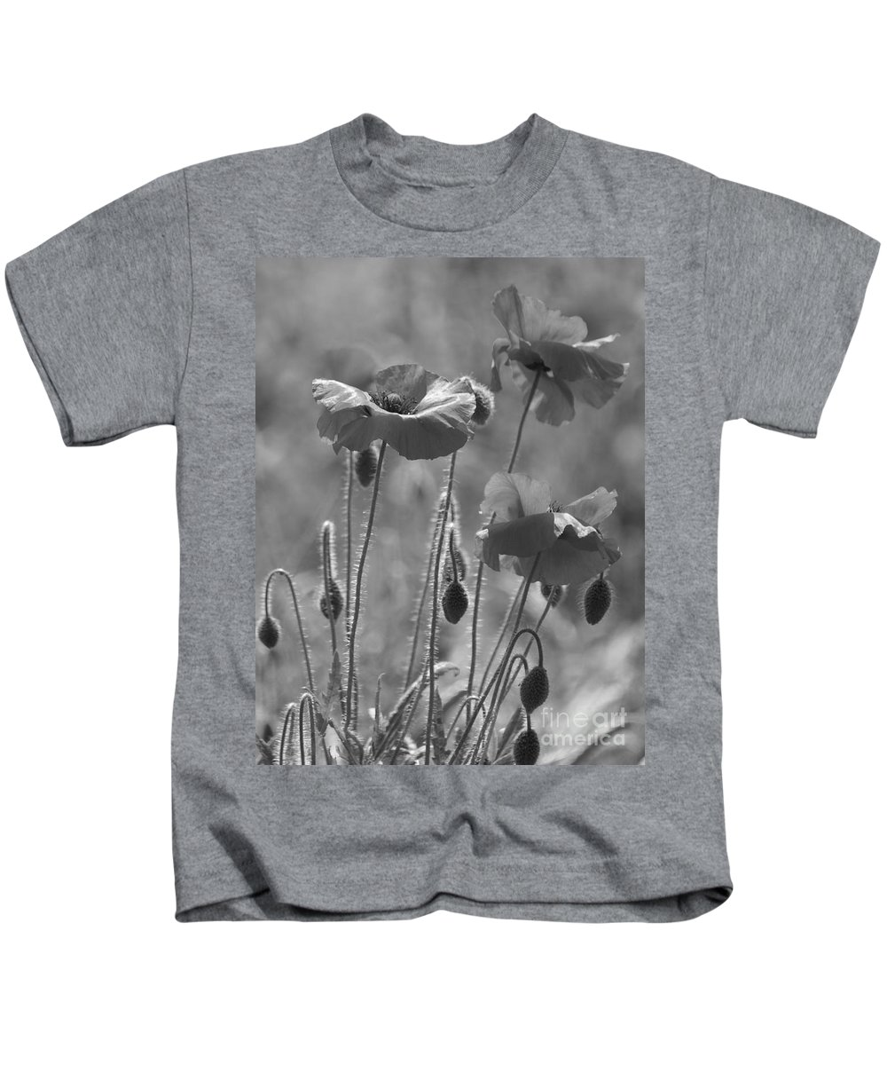 Poppies Kids T-Shirt featuring the photograph Colour Blind Poppies 1 by Carol Lynch