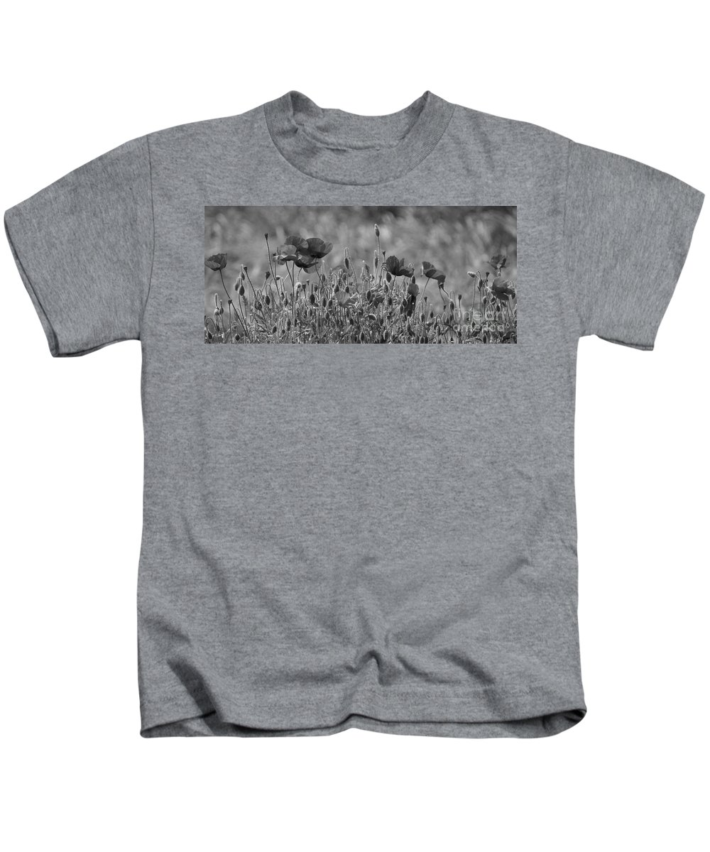 Poppies Kids T-Shirt featuring the photograph Colour Blind Poppies 2 by Carol Lynch